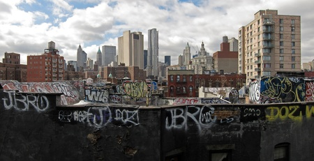 tagged: urban vandalism scene from New York City, panorama photo Editorial