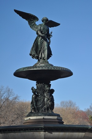vertical photo of Bethesda Fountain in Central Park, Manhattan, New York  photo