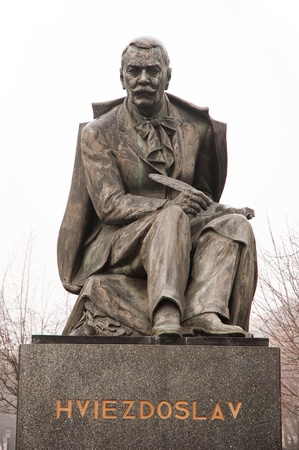 dramatist: statue of Pavol Orsz�gh Hviezdoslav (1849 - 1921), a Slovak poet, dramatist, translator and for a short time member of the Czechoslovak parliament.