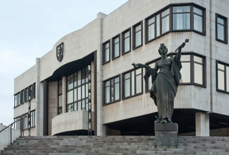 the council: National Council of Slovak Republic (Narodna rada SR) with statue in front of it Editorial