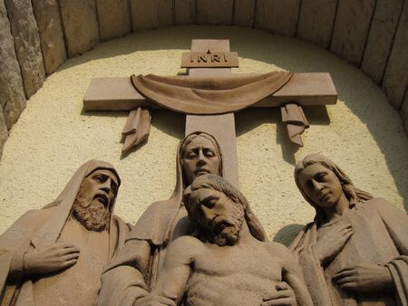 Jesus Christ after crucification Christianity sculpture detail. photo