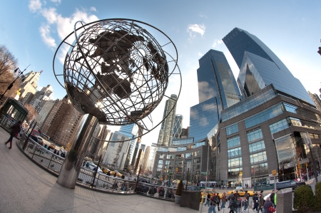 warner: Trump Globe and Time Warner Center at the Columbus Circle in New York. fish-eye lens photo.