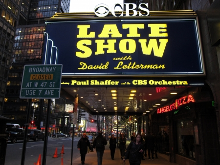 ed: 28. MARCH 2011 - NEW YORK, USA - Ed Sullivan Theater and the sign LATE SHOW with David Letterman. Photo taken in New York City, USA, on 28 march 2011. Editorial