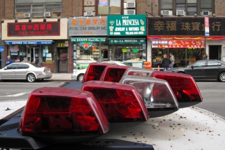 24. MARCH 2011 - NEW YORK, USA - light bar on a police car in Chinatown, Manhattan, NYC, USA. Photo taken on 24 march 2011.