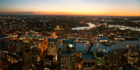 amp tower: Darling Harbor viewed from Sydney tower Stock Photo