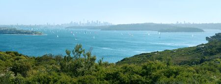 Port Jackson and Sydney cityscape in distance, photo taken from Sydney Harbour National Park, Australia  photo
