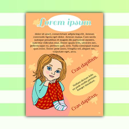 Baby girl sitting, hugging her legs, preschooler, bright color design . Vector drawing Ilustração