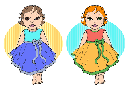 Child girl dressed up in a dress with a bow. Vector drawing