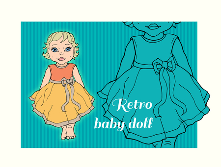 Child girl dressed up in a dress with a bow. Vector drawing Stock Illustratie