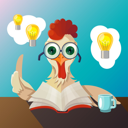 Rooster with glasses reading a book, he had the idea, drinking tea
