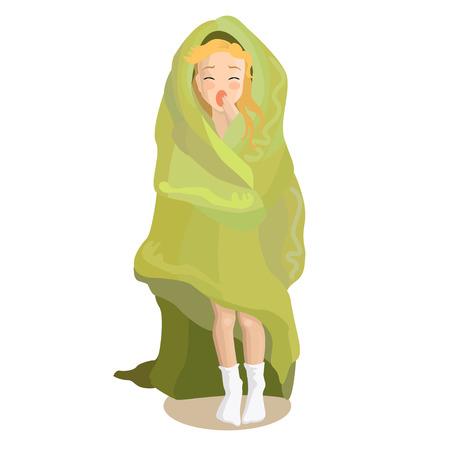 Niña soñolienta en manta Ilustración de vector