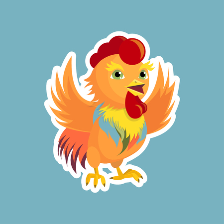 Rooster waving his wings, symbol of the year
