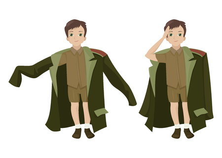 The boy character congratulates men, honors the military, the military uniform of the general, children's costume, rookie. Vector character in different poses on a white background. Cute illustration Ilustração