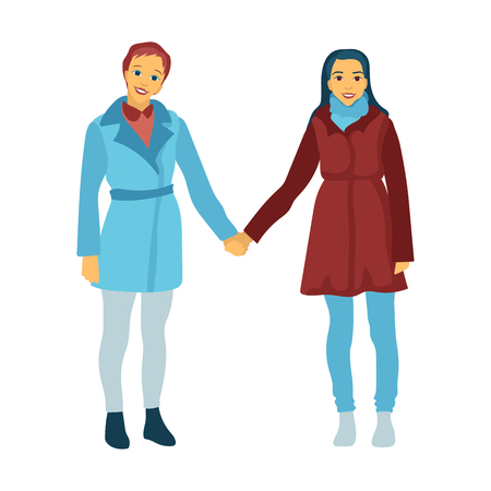 Illustration of girls to the utmost, in a coat and trousers. Lesbians of LGBT hold hands, couple in the relations, friendship and love