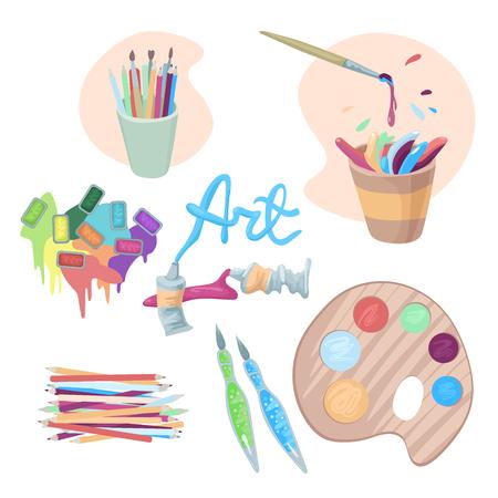 Farbige Farben fließen aus Küvetten, Aquarell und Gouache, eine Farbpalette, Wasserpinsel, Bleistifte und ein Pinsel.
