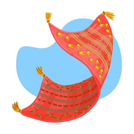 Fairy tale, flight carpet. Arabian fairytale character, pattern and tassels on the carpet. Illustration
