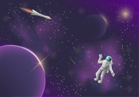 Dark space, nebulae and stars, comets and a flying rocket, astronaut welcomes. Purple sky, infinity of space. Starry space. Vector illustration.