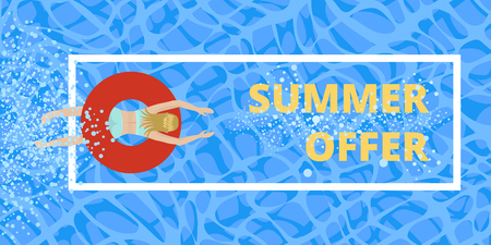 Summer illustration, discount offer for stores. Girl in a swimsuit swimming in the water of the sea or pool. Around the frame and bubbles