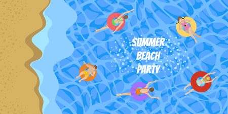 People in colored swimsuits and inflatable circles for swimming. Guys and girls around the inscription. Summer invitation design. Blue sea with waves and people. Sandy yellow shore. Horizontal banner.