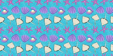 Cockleshell closed and open with pearl, rays and starfishes. Animals from the seabed. Swimming tropical mollusks. Seamless pattern. Cute animals, baby design Ilustração