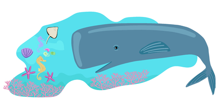 A huge fish looks at the little sea creatures. Shellfish, skate and seahorse opposite sperm whale