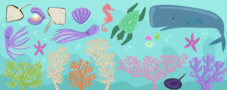 Multi-colored corals, decoration of the seabed. Whale and small sea animals. Octopus, stingrays, seahorse, sperm whale and others. Set of tropical swimming creatures.