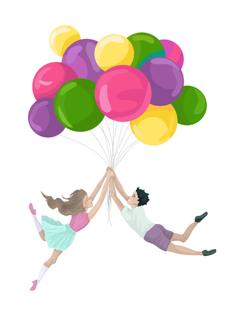 The illustration a holiday, school students to hold ornament - balloons, flying to the sky.