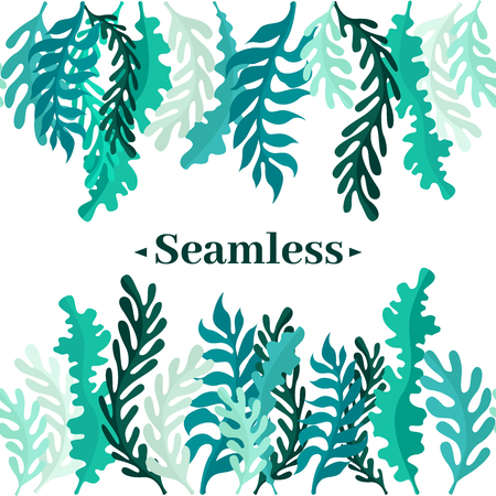 Seamless border of leaves and greens. Leaves of the forest or seaweed.