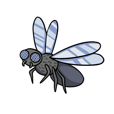 Gray fly with wings and legs. Doodle illustration drawn by hand.