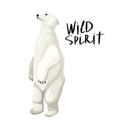 White polar bear stands on its hind legs. Adult wild beast. Handwritten inscription - Wild Soul. Vector isolated character and text.
