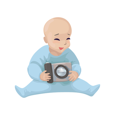The child sits, smiles, and holds the camera. Logo of a children's photoshoot, children's photographer. Vector illustration Illustration