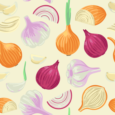 Onion and garlic. Onion and sliced onions, white and red. Sprouted green onions. Garlic cloves and garlic bulb. Vector seamless pattern of vegetables for spice