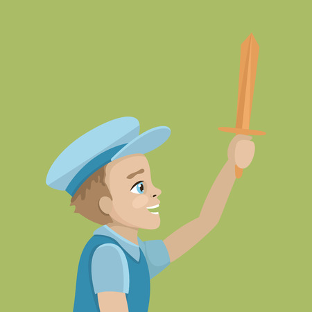 The boy is playing with a wooden sword. Wearing a blue T-shirt and a blue cap.