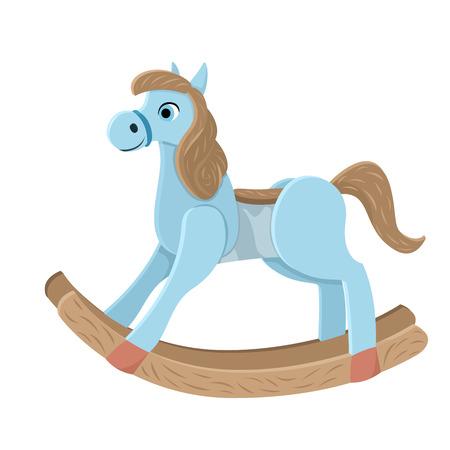 Cavallo di legno. Cavallo oscillante blu giocattolo per bambini. Giocattolo per ragazzi da cowboy. Illustrazione vettoriale isolato su sfondo bianco. Vettoriali