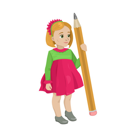 Baby girl in a bright color costume. The artist is going to draw a large simple pencil. Preschooler girl in drawing lesson. Character on a white background. Vector isolated object.
