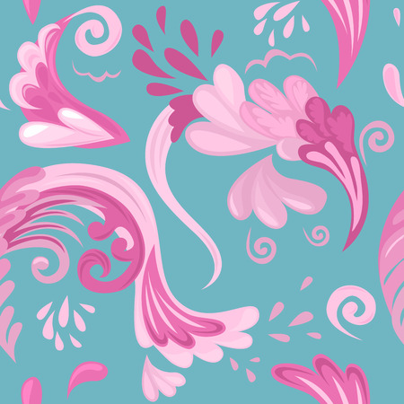 Seamless pattern of abstract objects like splashes and plants. Vector illustration for textile or background.