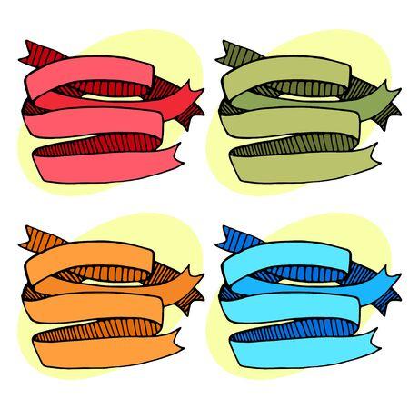 Set of ribbons strips red green orange blue. Vector illustration Illusztráció