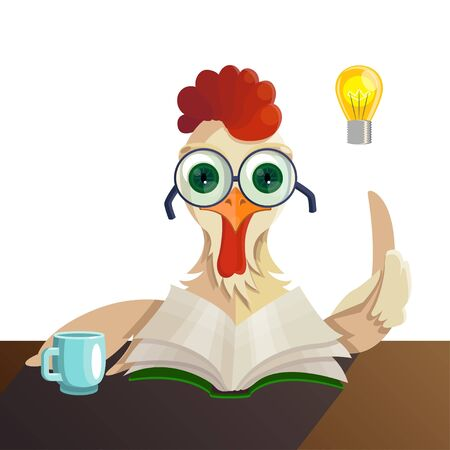 Rooster character in glasses reading a book, he had the idea, drinking tea. Isolated object on white background. Flat style cartoon drawing