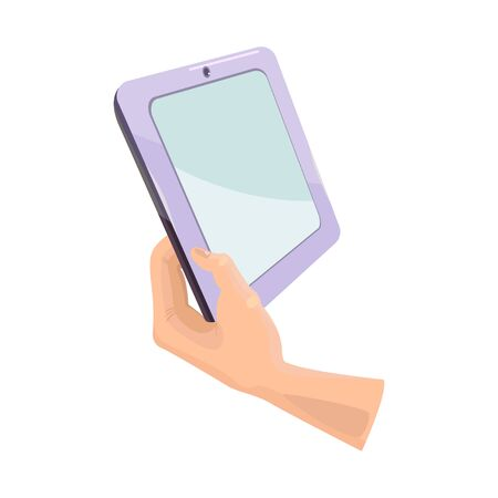 Hand holding tablet with blank screen. Isolated object on white background. Flat style cartoon drawing