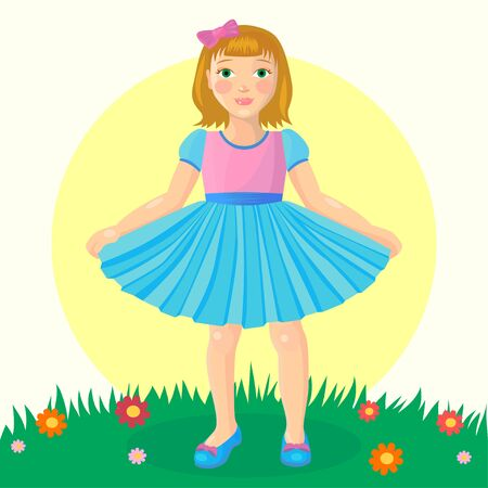Little girl in a blue dress standing on green lawn. Design for preschool or kindergarden. Isolated object on white background. Flat style cartoon drawing Ilustração