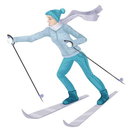 Girl skiing, sportswear in winter. Vector character isoleted