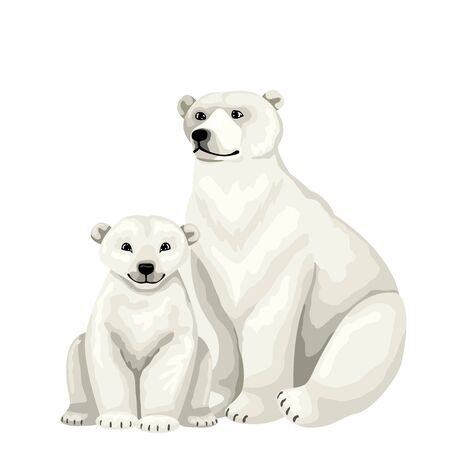 White bear with baby cub. Vector isolated characters on white background. Иллюстрация
