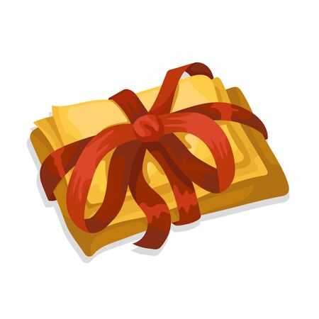 Letters and parcels are packed with red ribbon for a holiday or Christmas. Holiday gift. Present for wedding, annerversary or birthday. Isolated on white background. Flat cartoon vector illustration.