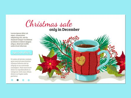 Christmas design of a banner with tree and a mug in a knitted product. Advertizing of a discount and a sale, the button and the place for the text