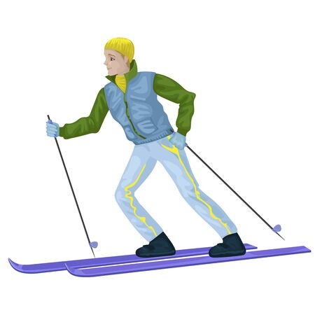 Boy skiing, sportswear in winter. Vector character isoleted