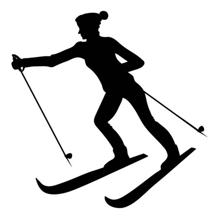 Silhouette of a female skier, black isolated vector object on white background Vector Illustratie