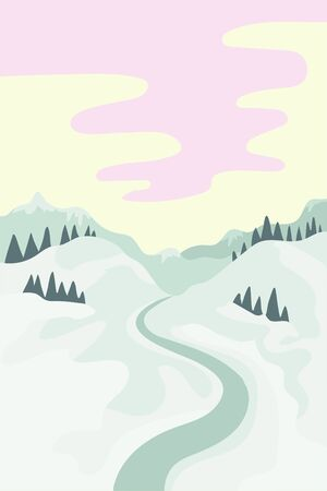 Dawn in the mountains, winter landscape with road and snow. Vector illustration background