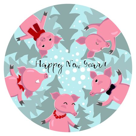 Symbol of new 2019, five pigs have fun and congratulate merry Christmas and happy new year. Cute animals. Merry Christmas and Happy New Year card. Design for banner or poster. Vector illustration concept.