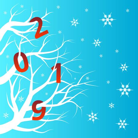 Bright red numbers on a white tree, a winter New Year s background Иллюстрация
