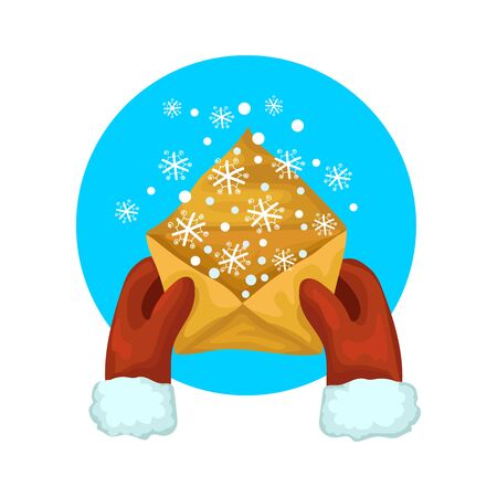 Snow in the letter, a yellow envelope is kept by hands in red winter mittens, magic winter an illustration an icon for your website. Isolated on white background. Flat style vector cartoon illustration. Иллюстрация
